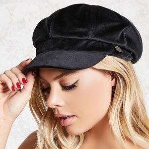 F21 Black Velvet Cabby Hat